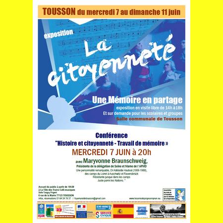 """Conférence """"Histoire et citoyenneté - Travail de mémoire »"""
