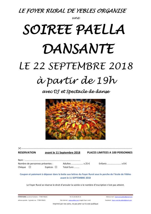 SOIRÉE PAELLA DANSANTE