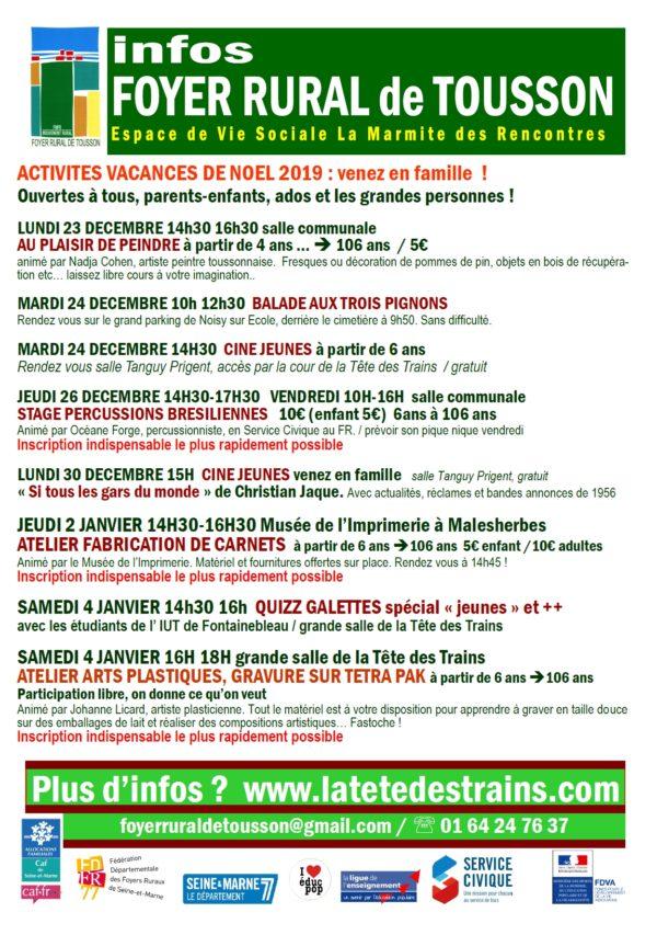 ACTIVITES VACANCES DE NOEL 2019